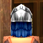Equipped  Guardian Helm viewed from the back with the visor up