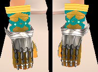 Equipped Caswyn's Gauntlets viewed from the side